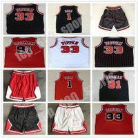 Meilleurs chemises de sport pour hommes broderie 1 # Derrick Rose Jersey Red The Worm 91 # Dennis Rodman Rouge Blanc Blanc 33 # Scottie Pippen Jersey cousu