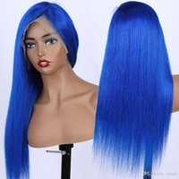 13x6 seidig gerade blau 24 zoll afro frauen kinky gerade kurze wigs blau pick braun cosplay synthetische haare hitzebeständig