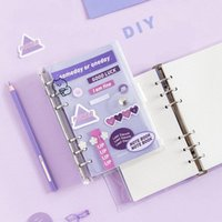 AgendaA6 DIY Handbook Grid Line Inner Page 6-Hole Loose-leaf Diary Binder Notebook with Ring Stickers Kawaii Gift Box Stationery