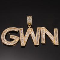 Hip Hop Simulated Diamant A-Z Custom Name Blase Buchstaben Anhänger Halskette Charme Geschenk Für Männer Frauen 18 Karat Gold Silber überzogen