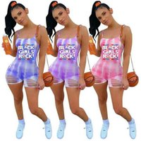 Summer Sports Leisure Jumpsuit Women Fashion Tie-dye Printed Sling Casual One-piece Shorts Siamese Trousers Ladies Girls Trendy Leggings Pants G69WEXX