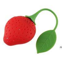 Diseño de frutas Encantador de fresa Forma de té Infusor de té de grado alimenticio Silicone Silicone Taileter para perder hoja HWE7293