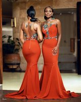 2022 Coral Plus Size Mermaid Lace Beaded Bridesmaid Dresses Sheer Neck Sexy Evening Prom Formal Party Gowns Dress Arabic Aso Ebi