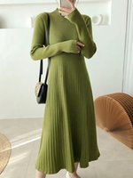 Vestidos informales Tigena Mujeres Punto Largo Suéter Vestido 2021 Otoño Invierno Una línea Sólida Túnica Sleeve Femenino Verde Negro
