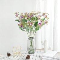 Wedding imitazione fiori viola fiore artificiale 5 testa impatiens decorazione della casa imitazione fiori fascio orchidea fleur artificielle