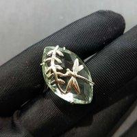 Klaster Pierścionki Y B O, Uroczy Eye Design 18,0 s Green Amethyst 15 * 25 mm w 925 Sterling Silver ze złotym ładnym pierścieniem dla dziewczyny