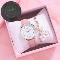 Nuevo reloj luminoso Moda Moda Relojes de cuero casual Simple Ladies 'Small Dial Cuarzo Reloj Vestido Relojes de pulsera Reloj Mujer