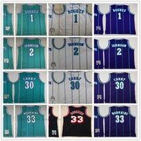 Mitchell y Ness 1992-93 Baloncesto Tyrone 1 Muggsy Jerseys cosido Larry 2 Johnson 30 Dell 33 Alonzo Curry Mourning Retro blanco Verde verde Jersey