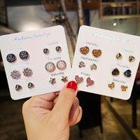 Stud Fashion Korean Earrings For Women Small Heart Moon Star Pearl Set Wedding Jewelry Accessories