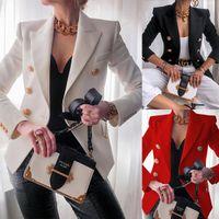여성 블레이저 더블 브레스트 블레이저 플러스 크기 Womens 자켓 2021 슬림 피트 긴 소매 우아한 여성 정장 재킷 사무실 숙녀