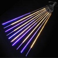 LED meteor shower lights 8 tubes set 192-288-576 leds bar courtyard lighting decoration lights LED double-sided patch meteor shower lights with light bar