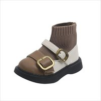 Boots 2021 Autumn Girls Princess Shoes Leather Knit Soft Sole Kids Socks British Style Fashion Toddler Baby 21-25