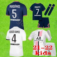 2021 Icardi Marquinhos Mbappe Soccer Jersey 21 22 Paris Verratti Kean Mailleots de Football Shirt Enfants Kit Origs مجموعة أطفال مجموعة + جوارب