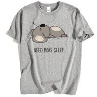 Men's T-Shirts NEED MORE SLEEP Cartoons Bear Print T Shirt Mens Fashion Lovely Tops Crewneck Cotton Clothing Summer Breathable Streetwear