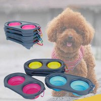 Double Basin Pet Supplies Cat Food Antislip Eetgerei Travel Easy to Carry Dog Feeders Folding Bowl Dual-Use Silicone