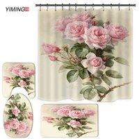 Флористический флористический аромат печатает ванная комната набор душевой занавес коврик для унитаза украшения дома 210715