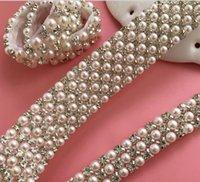 2021 P6 1 Yard 6 Reihen Diamant Ein Strass und Perlen-Hochzeitstorte Banding-Trim-Band-Deko