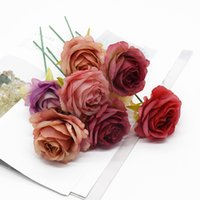 10Pcs 6cm Silk Flowers Artificial Roses Decorative Wreath Home Decoration Accessories Wedding Bride's Wrist Diy Gifts Box Brooch