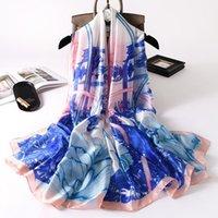 Lenços 2021 feminino moda lenço de seda sol cor xaile peônia peônia impressão praia toalha outono e inverno quente