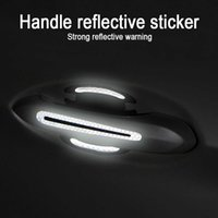 4pcs Reflective Car Stickers Universal Safety Warning Strip Door Handle Bowl Cover Sticker Reflector Car Exterior Accessorie