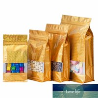 50pcs Laser Gold Aluminum Foil Window Bag Resealable Holographic Biscuit Sugar Coffee Beans Snack Nuts Gifts Packaging Pouches Factory price expert design Quality