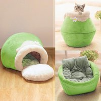Cat Beds & Furniture Winter Warm Bed Plush Soft Portable Foldable Round Cute House Cave Sleeping Bag Cushion Pet Kittens Products Toy