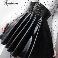 ROCKMORE PU кожаный ночной клуб A-Line Mini юбка женщин молния готический панк стиль высокая талия сексуальный микро над колено юбки женские 210303