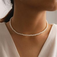 Chokers Pearl Clavicle Chain Choker Necklace For Women Fashion White Imitation Necklaces Trendy Elegant Wedding Jewelry