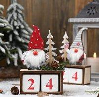 Christmas Desktop Ornament Santa Claus Gnome Wooden Calendar Advent Countdown Decoration Home Tabletop Decor by sea OWB10576
