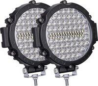 2pcs 7 inch LED Offroad Pod Lights Bar 210W Black Round Bumper Driving Lamp Headlight Fog Light for Offroader, Truck, Car, ATV, SUV, Construction, Camping, Hunters