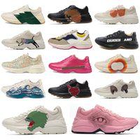 ErkeklerinRhytonBej Deri Sneakers Platformu Vintage Koşucu Eğitmen Tasarımcılar Bayan Eğitmen Baba Ayakkabı Rahat Ayakkabılar 620185 99WF0 4371