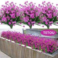 Decorative Flowers & Wreaths Fake Artificial Outdoor For Decoration UV Resistant No Fade Faux Plastic Plants Garden Porch Window Kitchen Off