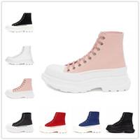 Alexander McQueen Tread Canvas lace-up boots Pisada de moda Slick Lienzo Sneaker New Larms Plataforma Zapatos de plataforma Triple Blanco Royal Royal Rosa Rosa Rosa Casual Sneakers