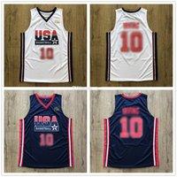 사용자 정의 드림 팀 미국 Kyrie Irving # 레트로 농구 유니폼 남자의 스티치 화이트 블루 모든 번호 이름 유니폼