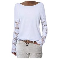 Women's Blouses & Shirts Women Summer Casual Flared Blouse Full Sleeve Round Neck Lace Basic Tee Top Female
