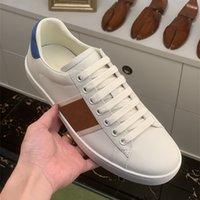Ace Italien Luxurys Designers Skor Grön Röd Stripe Broderad Elastisk Web Läder Two-Tone Runner Vintage Trainers Sport Casual Sneaker