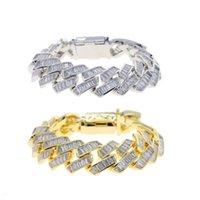 Charm Bracelets Big Heavy Hip Hop Bling Men Boy Jewelry 19mm Width Full Rectangle Cubic Zirconia CZ Cuban Link Chain Bracelet
