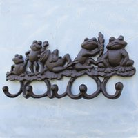 2 piezas de hierro fundido decorativo encantador ranas perchero con ganchos llave soporte de suspensión colgante jardín porche cabina lodge pared montada decoración marrón antiguo
