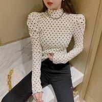 New Hao Point High Hals Langarm Einfaches T-Shirt Top Frauen Mode Bodenschicht