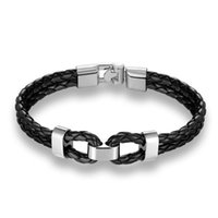 Браслеты очарования модный PU кожаный браслет Homme минималистский сплав двойной бразик для гомберы Hiphop рок мужская рука аксессуары панк-браслета