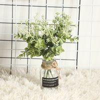 Okaliptüs Yapay Çiçek Teslimat ile Pirinç Aile Ev Düğün Tutma Sahte Çiçekler Duvar Dekorasyonu için El Bağlı Buket 0 95JL Y2