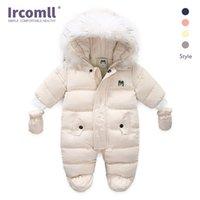 Ircomll espessura bebê bebê jumpsuit encapuçado dentro de lã menino menina inverno outono macacão crianças outerwear crianças snowsuit 210830
