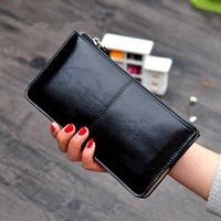 النساء خمر زيت الشمع تعلم البضائع مخلب الإناث سعة كبيرة محفظة المرأة معصمه حامل بطاقة واحدة