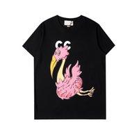2021 Italiano Primavera y verano Últimas Moda de Alto Lujo Flamingo Carta Impresión EUROPEO Hombre Diseñador de Hombres Casuales de Alta Calidad y Mujeres Pink and Black T-SHIRTS