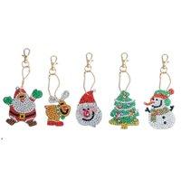 Diamond Keychain Shape di Diamante Pittura Diamante Decorazioni di Natale Borsa Pendente Portachiavi Jewelry Key Anello Regali Decorazioni vacanze DWWE8846