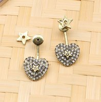 18K Gold Plated Heart Pentagram Simple Brand Designers Geometry Hollow Rhinestone V Letters Stud Geometric Women Crystal Earring Wedding Party Jewerlry
