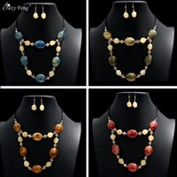 Earrings & Necklace Geometry Crystal Pendant Set Leather Rope Layers Retro Jewelry Sets Fashion Choker Wedding
