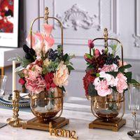 LUXTRY 65 cm Vase de fleurs Gold Colonne de colonne en métal Vase Vase de mariage Chandelier pour la décoration de fête d'événement Ornement