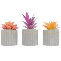 زهور الزهور الزخرفية 3 قطع محاكاة العصارة بونساي وعاء كاذبة نبات زخرفة أنيقة اصطناعية