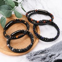 Charm Bracelets Charmsmic Natural Volcano Stone Bead For Women Mens Strand Sets Magnetic Clasp Hand Braided Jewelry Gifts